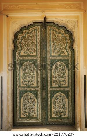 Pink city palace, door, Jaipur, India - stock photo