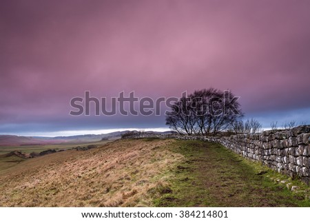 Pink Cloud above Hadrian's Wall / The Pennine Way walking trail joins the Roman Wall at this section at Cawfield,which is a UNESCO World Heritage Site - stock photo