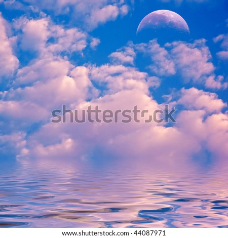 Pink clouds and moon over sea. - stock photo