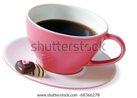 Pink coffee cup - stock photo