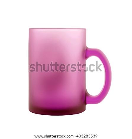 pink coffee mug isolated on white background - stock photo
