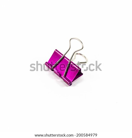 pink color binder clips isolated on white background - stock photo