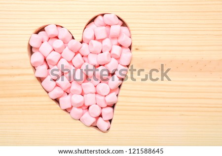 pink color of marshmallow for valentine - stock photo