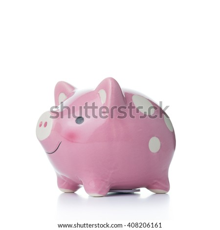 Pink color piggy bank isolated on white background