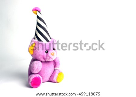 Pink color teddy bear against a white background