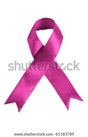 Pink colored Breast cancer awareness ribbon on white background