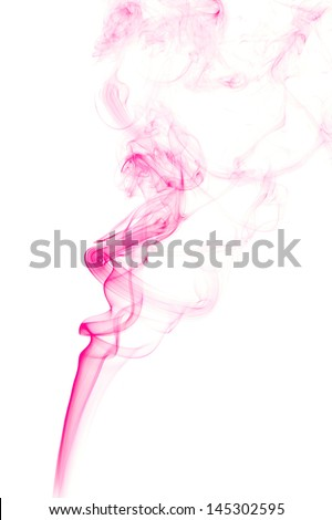 Pink colored smoke on a white background. - stock photo