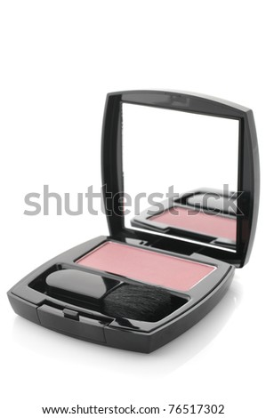 Pink compact blush with brush in black container with mirror isolated on white background. - stock photo