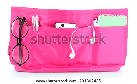 Pink cosmetic bag isolated on white - stock photo