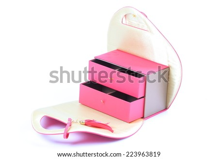 pink cosmetic bag on white