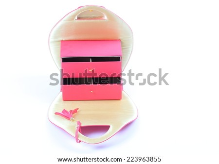 pink cosmetic bag on white - stock photo