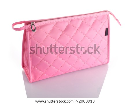 Pink Cosmetics Bag Isolated on White Background - stock photo