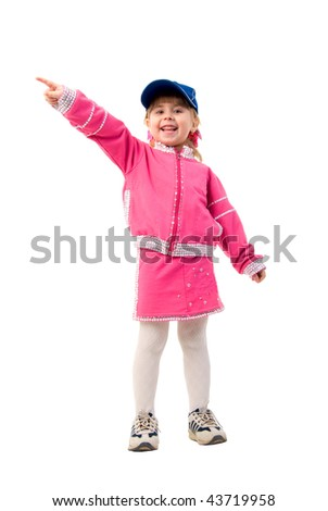 Pink Costume Smiling Little Girl. Studio Shoot Over White Background. - stock photo