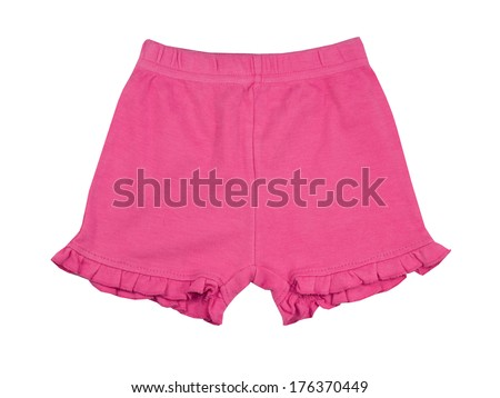 Pink cotton girl shorts isolated on white.