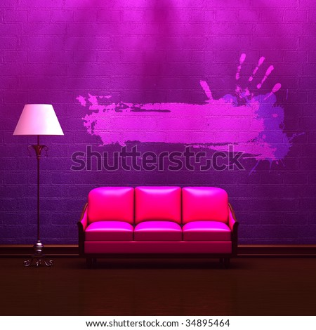Pink couch  and standard lamp in  purple minimalist interior