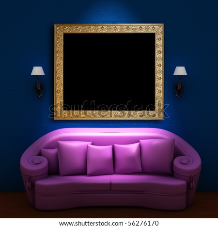 Pink couch with antique empty frame and sconces in blue minimalist interior - stock photo