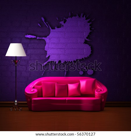 Pink couch with empty abstract frame and standard lamp in dark purple minimalist interior - stock photo