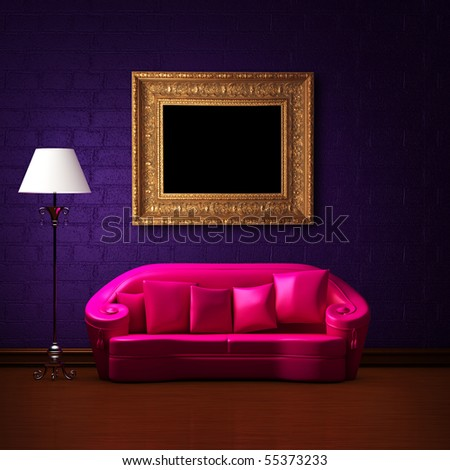 Pink couch with empty frame and standard lamp in dark purple minimalist interior - stock photo