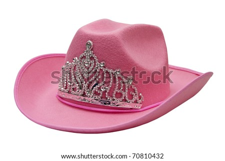 pink cowboy hat isolated on white background - stock photo