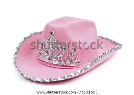 Pink cowboy hat with tiara on white background, clipping path included - stock photo