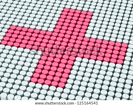 Pink  cross from pills stacks on white pills stakes - stock photo