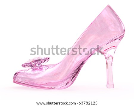 Pink crystal glass female shoe with flower on white background. High resolution 3D image - stock photo