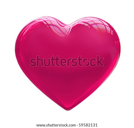 Pink crystal heart - stock photo
