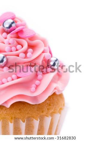 Pink cupcake - stock photo