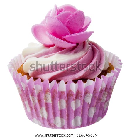 Pink Cupcake isolated - stock photo