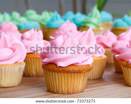 pink cupcake up close - stock photo