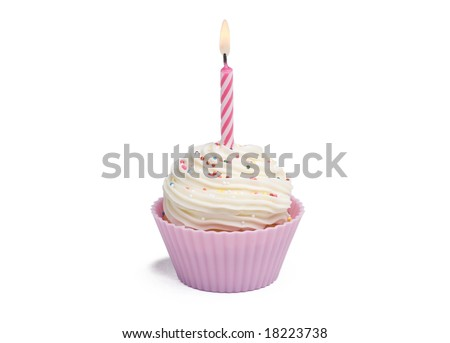 Pink cupcake with candle on white background - stock photo