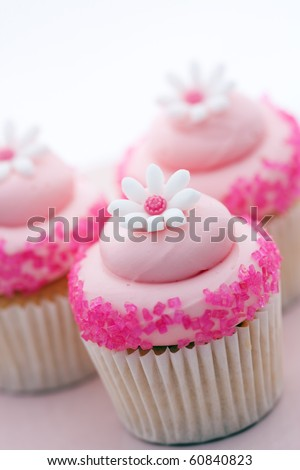 Pink cupcakes decorated with sugar daisies - stock photo