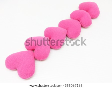 Pink Cushion heart shape isolated on white background - stock photo