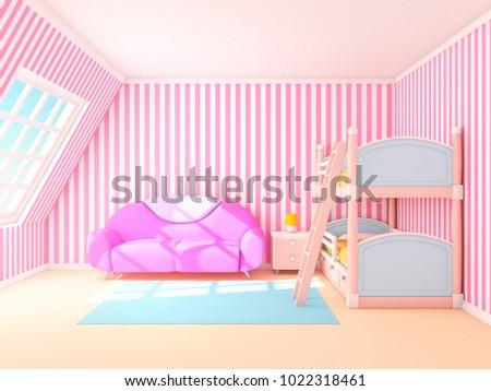 Pink Cute Cartoon Interior Bunk Bed Stock Illustration 1022318461