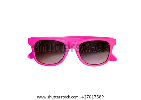 Pink cute sunglasses isolated on white background with clipping path.  - stock photo