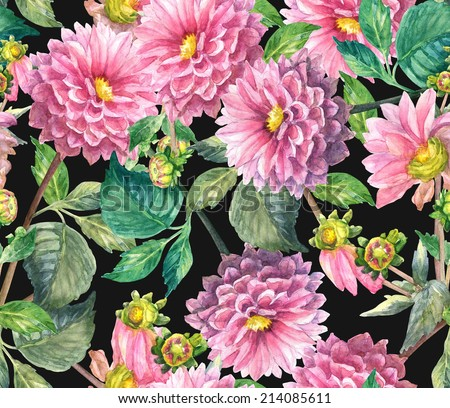 Pink Dahlias floral seamless pattern. Watercolor hand painting illustration .  - stock photo