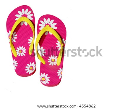 Pink Daisy Flip Flops with Copy Space - stock photo