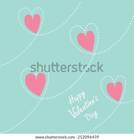 Pink dash line heart background. Flat design Happy Valentines day card Flat design