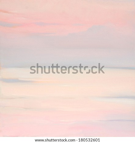 pink dawn on the sea, painting by oil on canvas - stock photo