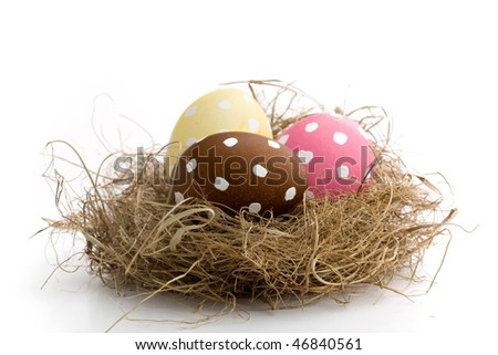 Pink decorated easter egg isolated on white - stock photo