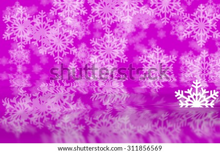 Pink defocused snowflakes background with white half shape of snowflakes in water reflection of background - stock photo