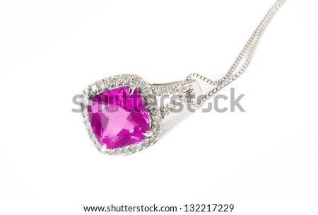 pink diamond necklace closeup - stock photo