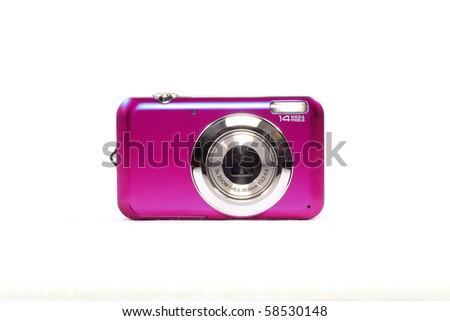 pink digital camera - stock photo
