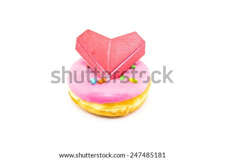 pink donut and paper heart  isolated on white background,valentine day - stock photo