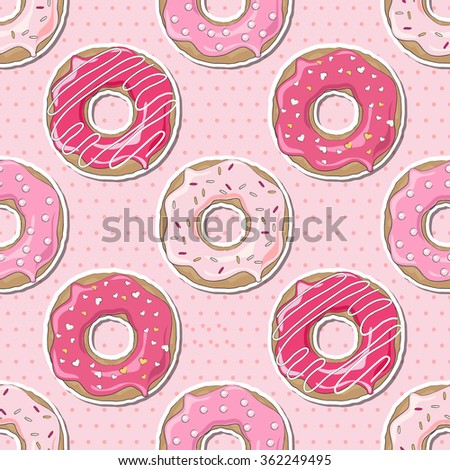 Pink donuts, decorated for Valentine's Day, over a pink polka dot seamless background.  - stock photo