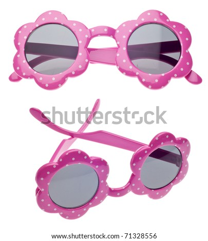 Pink Dot Child Size Sunglasses in Two Views Isolated on White with a Clipping Path. - stock photo