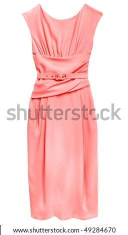 Pink dress isolated on white - stock photo