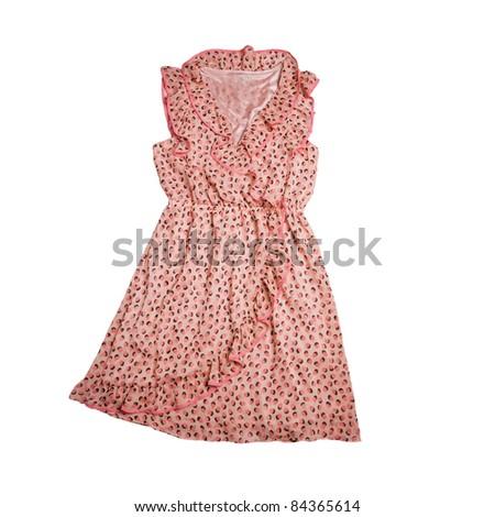pink dress - vintage style - stock photo