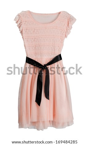 Pink dress with black belt. Isolate on white. - stock photo