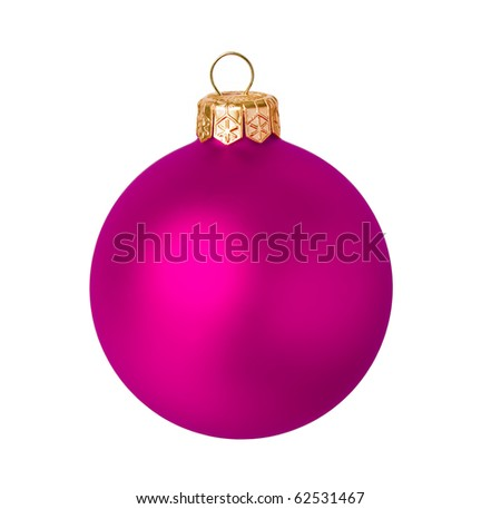 Pink dull christmas ball on white background - stock photo